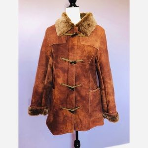Wilsons Leather suede and faux fur leather coat